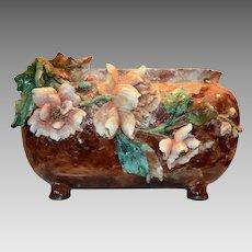 "Stunning  Barbotine Terra Cotta Jardiniere / Planter / Vase ~ 16.5"" ~ Haviland & Co Limoges France Auteuil studios, Paris 1875-1882."
