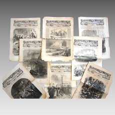 Civil War dates 1861-1863. Harper's Weekly Newspapers. Your choice of issues. Original and authentic, not re-issues. All have uncut pages.