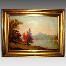 Hudson River Valley School oil on canvas ~Perkins Pond and Monadnock Mountain, NH  1850's-1860's