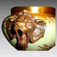 Porcelain Jardinière ~Majestic and Rare Limoges ~ Lion Head handles ~ Gold Embossed Leaf Designs ~ D&C (Delinieres & Co.) France Limoges 1890-1900