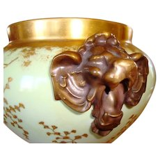 Jardiniere ~Majestic and Rare Limoges ~ Lion Head handles ~ Gold Embossed Leaf Designs ~ D&C (Delinieres & Co.) France Limoges 1890-1900