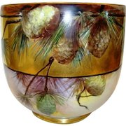 Limoges Jardiniere / Planter / Vase ~ LARGE W/  LOTS of GOLD! Hand Painted Pinecones ~ Signed Mary Bowen 1917 – William Guerin 1900-1932