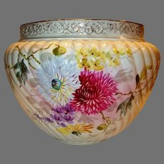 "Huge & Beautiful  Jardiniere / Planter ~ 41""circumference ~ German Hand Painted with Mums ~ 14"" W ~  FRANZ ANTON MEHLEM EARTHENWARE FACTORY - Bonn Rhein Germany ~ 1887-1920"