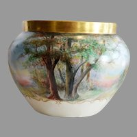 Outstanding Jardiniere Limoges Porcelain ~ Landscape Scene ~ Hand Painted Signed~ Bernardaud & Co  Limoges France 1900-1914