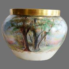 Outstanding Jardiniere Limoges Porcelain ~ Landscape Scene ~ Hand Painted Signed~ Bernardaud & Co  Limoges France 1900-1914