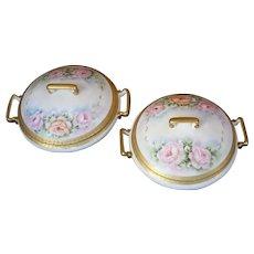 Lovely and elegant hand painted Limoges serving bowls (2) - Lidded, roses and gold paste. Limoges. France 1907 - 1919