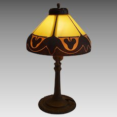 Unique Antique Table Lamp with Sand textured Layered Glass Shade ~ PILABRASCO CO. /   Pittsburgh Lamp Glass & Brass Co early 1900's