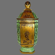 Exquisite French Porcelain Apothecary / Chemist Jar ~ Hand Painted with Chinoiseries on Gold pattern ~ Atelier Le Tallec Paris France 1959.