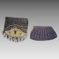 Two (2) Very Nice Beaded Purses with iridescent beads ~ Mid 1920's