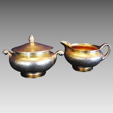All Over Gold Creamer and Sugar Set ~ Floral Decoration ~ Wheeling Decorating Co ca 1920's