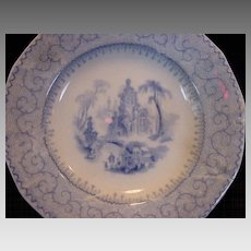 """Rare 181 Year Old English Earthenware Butter Pat ~ Florentine China ~ Light Blue with Scene ~ """"Manilla"""" Pattern ~ Samuel Alcock Staffordshire UK 1828-1859"""