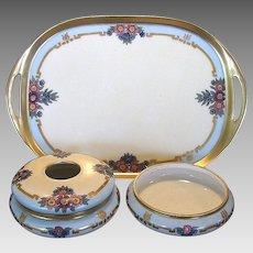 Three Piece Limoges Porcelain Dresser Set ~ Hand Painted with Purple, Blue & Pink Flowers ~ Art Nouveau ~ Artist Signed ~ Bernardaud & Co 1900-1914