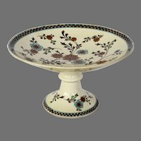 """Awesome English Earthenware Compote / Pedestal Plate ~ turquoise and Gold Flower ~ Pattern """"Gem"""" ~ Powell Bishop & Stonier P B &S 1878 - 1891"""