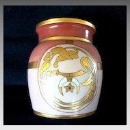 Nice Bavarian Porcelain Jar ~ Shriners Logo -- The Scimitar, Crescent Moon and Star ~ Art Nouveau ~ Artist Signed ~  UNO Favorite Bavaria 1916