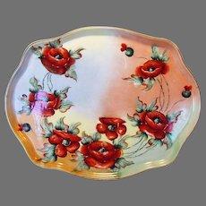 Limoges Porcelain Tray ~ Hand Painted Orange Poppies ~ 16 1/2''  ~ William Guerin ca.1900 -1919