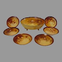 Porcelain Master Nut Bowl Set with Six (6) Individual Dishes ~ Hand Painted with Various Nuts ~ Haviland Limoges \ France Oscar & Edgar Gutherz Royal Austria 1899-1918