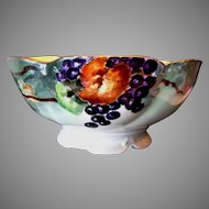 Magnificent Punch Bowl ~ Limoges Porcelain ~ Hand Painted Grape Motif ~ Delinieres & CO France 1890-1900