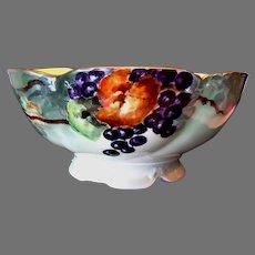 Magnificent Punch Bowl ~ Limoges Porcelain ~ Hand Painted Grape Motif ~ Delinieres & CO France 1890-1900