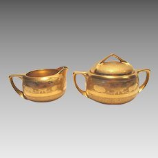 Gorgeous Stouffer Studio Decorated Creamer & Sugar in the All Over Gold ( AOG ) Water Lily & Ground Finish ~ Stouffer Studio ~ Chicago IL 1917-1918