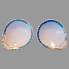 2 Matching Individual Limoges Porcelain Oyster Dishes (Shooters) ~ Azure Blue Decoration ~ William Guerin Limoges France1900-1905