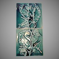 Extraordinary 2 PIECE of Majolica Sequential Victorian Panel Tiles with Branches, Flowers and Leaves ~ Trent Tile Co 1882 - 1939