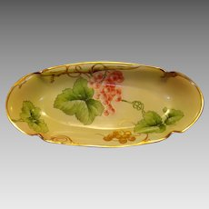 Beautiful Limoges Porcelain Relish Dish / Celery Tray ~ Hand Painted by Italian Ginori artist with Purple and Gold Grapes ~ Artist Signed ~ PM Mavaleix Limoges France / (Richard-Ginori) Italy 1908-1914