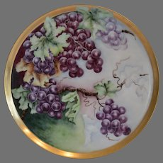 "Amazing Limoges Porcelain 13 5/8"" Tray  / Platter ~ Hand Painted Purple Grapes ~ Tressemann & Vogt ( T&V) 1892-1907"