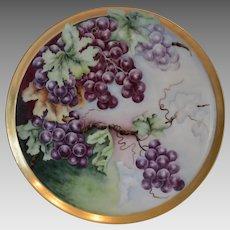 "Amazing Limoges Porcelain 13 5/8"" Tray  / Platter ~ Hand Painted Purple Grapes ~ Tressemann & Vogt ( T&V) 1892-1907"