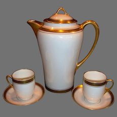 Porcelain Chocolate Pot ~ Matching Cups and Saucers ~ Hand Painted with Gold and Black Geometric Design ~ Pickard Studios Chicago IL 1912-1919