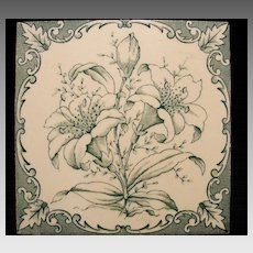 Great Aesthetic Art Tile with Wonderful Teal Green Floral Design ~Thomas Hughes & Son ca 1895