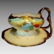 Unique & Beautiful  Nappy / Dish / Bowl ~ Hand Painted with Red Currants or Cherries ~ Iris Bavaria Germany / Pickard Studios Chicago IL 1903 -1905