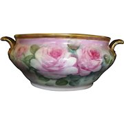"Champagne / Wine Chiller ~ 14"" German Porcelain ~ Hand Painted with Pink Roses ~ HUTSCHENREUTHER Germany 1920-1970"