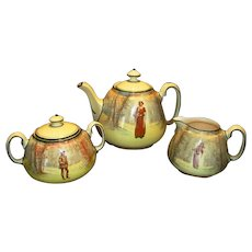 Tea Set ~ Tea Pot, Sugar and Creamer ~ Royal Doulton English Earthenware ~ Shakespeare's Seriesware Characters D3596 ~ Royal Doulton England 1912
