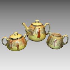 Tea Set ~ Tea Pot, Sugar and Creamer ~ Royal Doulton English Earthenware ~ Shakespeare's Seriesware Characters D3596 ~ Royal Doulton England 1912