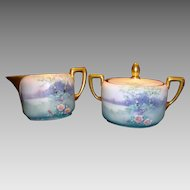Beautiful Pickard Decorated Porcelain Cream & Sugar Set with Lid ~ Hand Painted with Vellum Landscape Scene ~ Artist F. JAMES Signed ~ WA Pickard Studio Chicago IL 1912 -1918