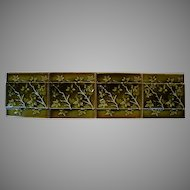 4 Beautiful Majolica Green Tiles ~ Branches and Leaf Design, circa 1880's - 1890's.
