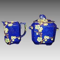 Extraordinary English Earthenware Creamer & Sugar ~ Prunus Pattern ~ Cobalt with Yellow Flowers ~ Fox Handles ~ G.L. ASHWORTH & BROS. (Staffordshire, UK) - ca 1880s - 1900s
