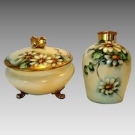 """50% OFF! Delightful Limoges Porcelain Dresser or Powder Jar with Matching Vase – Hand Painted with Beautiful Daisy Flowers – Signed by """" Mehle"""" – GDA Limoges 1900-1941"""