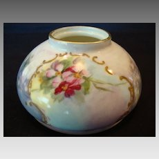 Unique Limoges Porcelain Inkwell ~ Hand Painted with Pink Flowers and Luster ~ Gerard, Dufraisseix, and Abbot ( GDA ) Limoges France 1900-1941