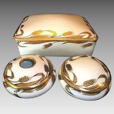 Unique Limoges / Nippon 3 Piece Dresser Set  ~ Gold Wheat on White ~ Gerard, Dufraisseix, and Abbot Limoges France / Japan 1900-1941