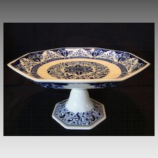 Awesome Mintons 8 Sided 132 Yr Old English Compote / Pedestal Dish ~ Blue and White Floral ~ Mintons Stoke on Trent ~ Staffordshire England 4/10/1878