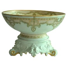 Limoges Punch Bowl w/ Ornate base – 12 1/2'' ~ Art Nouveau Design – 'Mary Harrington' 1906 – T & V Tressemann & Vogt Limoges France