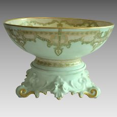 Limoges Punch Bowl w/ Ornate base – 12 1/2'' ~ Art Nouveau Design – 'Mary Harrington' 1906 – T & V Tressemann & Vogt Limoges France