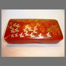 Beautiful Red Lacquer Paper Mache Hand Painted with Silver Butterflies and Golden Foliage