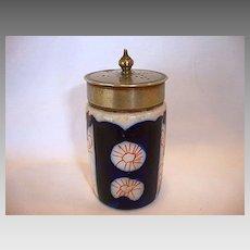 Nice Gaudy Welsh Salt Shaker  ~ Cobalt & Orange Flowers ~ un marked
