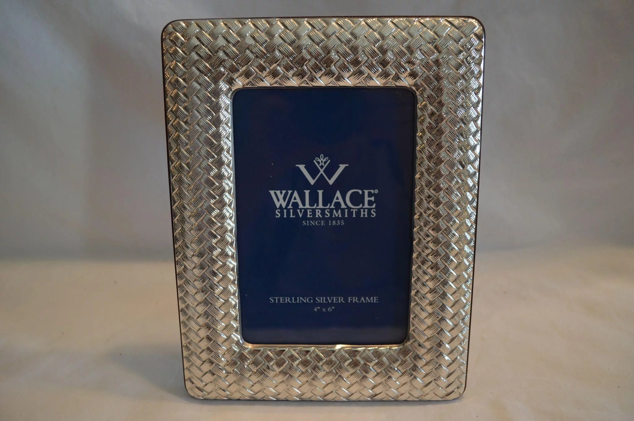 Sterling Silver Frame w/ Box ~ Basket Weave with Wood Back ~ Wallace ...