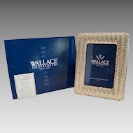 Sterling Silver Frame  w/ Box ~ Basket Weave with Wood  Back ~ Wallace Silversmiths  ~ Made in Italy