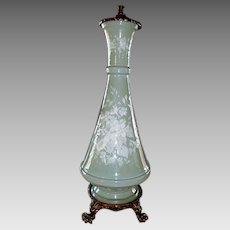 50% OFF! Exquisite Pate-Sur-Pate Double Pull Table Lamp ~ Celadon Green~ Ormolu Claw Footed Base Before 1930's
