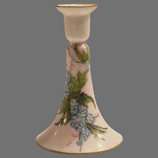 Limoges Porcelain Candlestick Hand Painted with Blue Forget-Me-Nots –  Artist Signed – Haviland France 1894-1931