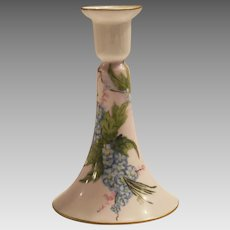 Limoges Porcelain Candlestick Hand Painted with Blue Forget-Me-Nots –  Artist Signed – Haviland France 1894-1931